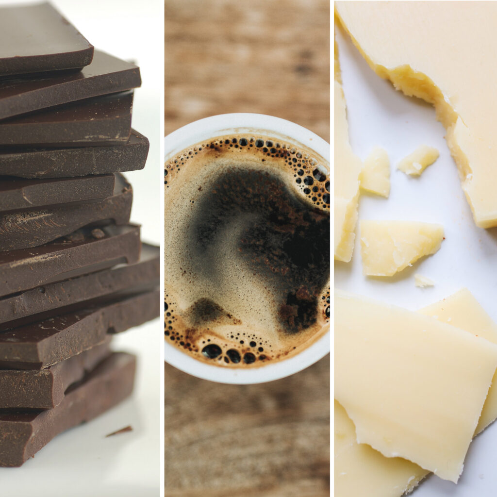 Coffee with chocolate? Or coffee with cheese?
